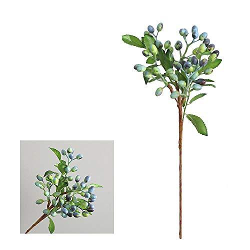 MSSZH Künstliche Blume Shooting Requisiten Heidelbeere Beere Wohnzimmer Hause Hochzeitsdekoration 5 Gabel Olive Berry, Wein Grün - Berry Schatz