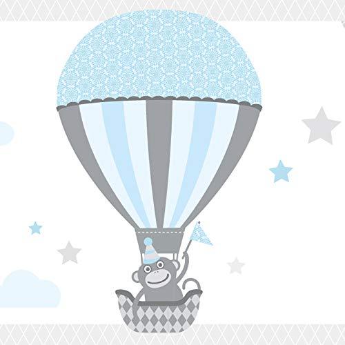 anna wand Bordüre selbstklebend HOT AIR BALLOONS - Wandbordüre Kinderzimmer / Babyzimmer mit Tieren in Heißluftballons in Hell-Blau /Grau – Wandtattoo Schlafzimmer Mädchen & Junge, Wanddeko Baby / Kinder