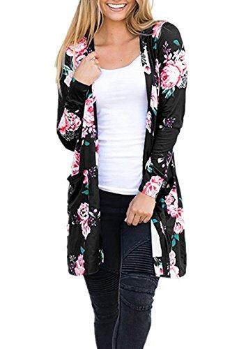 Yieune Damen Blumenmuster Strickjacke Cardigan Langarmshirt Lose Kimono Baumwolle Cover Up Oberteil (Schwarz L)