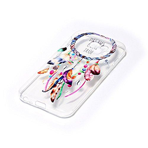 FESELE Silikon Handy Hülle für [Samsung Galaxy A5 2017], Durchsichtig Ultradünn TPU Handytasche für Samsung Galaxy A5 2017 Bunt Malerei Muster Transparente Schutzhülle Weiches Silikon Tasche Hüllen Rü Bunt Traumfänger Feder