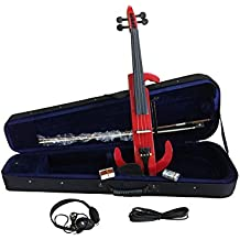 Violino Silent Elettrico Rosso con archetto e custodia imbottita, di alta qualità 4/4Violino