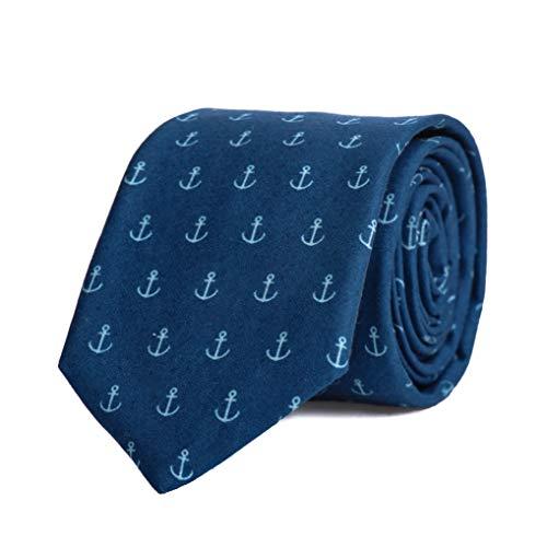 MAKERSONS Anker Seemann gemustert Blau Handgefertigt Schlips Neuheit lässig Arbeit Krawatte