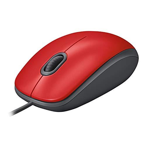 Logitech M110 Mouse con Cavo Silenzioso, Comodo, Full-size, con Clic Silenzioso per Laptop, Notebook, PC e Mac, Rosso