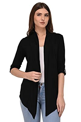 Espresso Women's 100% Viscose Waterfall Shrugs with Button Foldable Sleeve