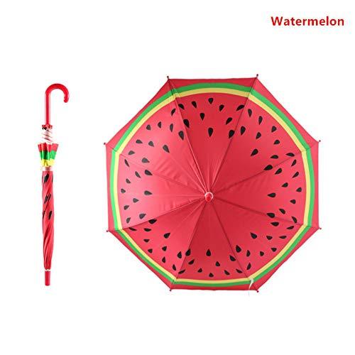 MVBGLK Neuheit Obst Erdbeere Orange Wassermelone Schönes Kind Kind Prinz Prinz Sunny Rainy Umbrella Winddicht Starke Longhandle Geschenk, C