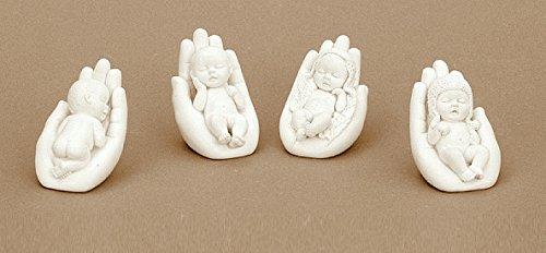 16 Stück Babyfiguren weisse süsse kleine Babys Engel Figur je ca. 5,5cm x 7cm Taufe Geburt Deko (Figur Taufe Engel)