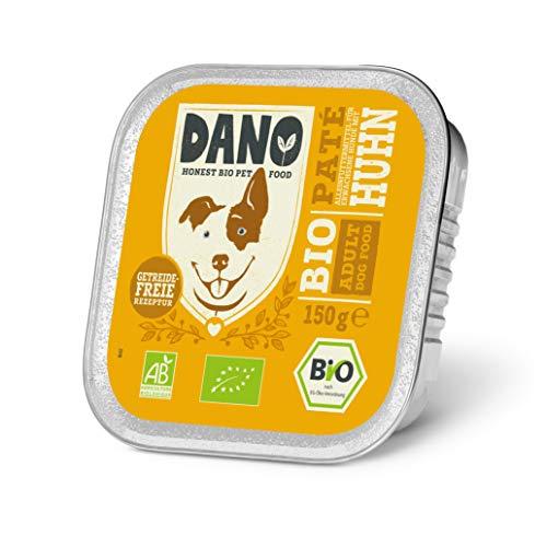DANO Bio-Hundefutter, Nass - Getreidefreie Hühnerpastete, Hunde-Nassfutter - Gesunde Ernährung Vollnahrung für Hunde jeden Alters - 150g