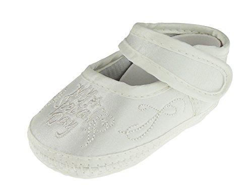 Baby Jungen Mädchen Elfenbeinfarben Taufe Schuhe Sandale My Special Day Stickerei Gr. 56, elfenbeinfarben