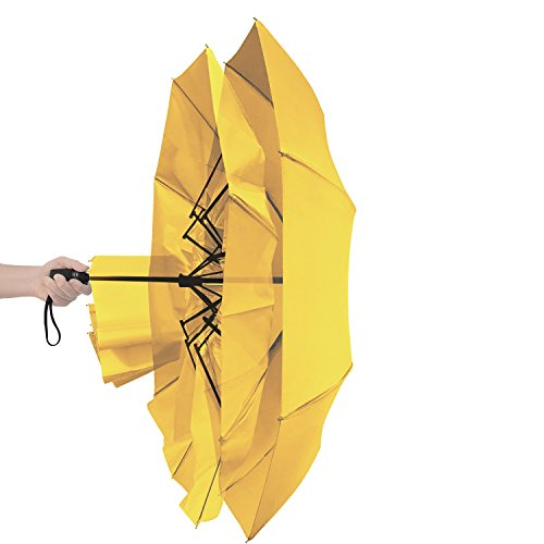 "Lightweight ""Dupont Teflon"" Travel Umbrella, Virtually Indestructible Windproof Canopy, **Lifetime Replacement Guarantee**, Automatic Open/Close For One Handed Operation, Slip-Proof Handle for Easy Carrying By Repel (Yellow)"