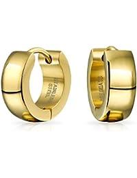 Bling Jewelry de acero inoxidable chapado en oro Huggie Hoop Earrings
