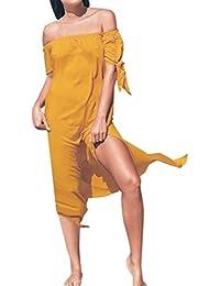 Damen Kleider Sommer Lang Chiffon Strandkleidung Schulterfrei Maxikleid  Urlaub Bademode Vertuschen Sommerkleid 27354ac1c2