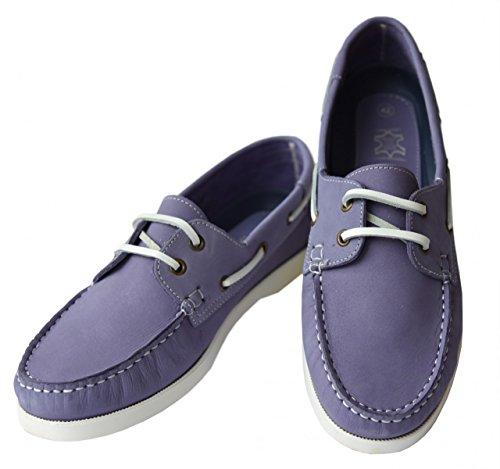 Beverley Originals Herren Leder Bootsschuh Mens Casual Skipper violett