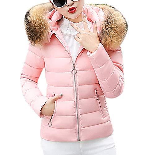 SEWORLD Damen Daunenjacke, 2018 Mode Cotton Down Jacket Short Coat Women Solid Slim Thick Large Fur Collar Hooded Winter Warm Parkas Overcoat Zipper Padded Tops Outwear(X2-rosa,EU-40/L2) Womens Short Trench