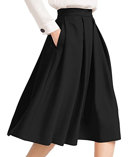 Beauty7 Damen Elegant A-Linie Midirock Knielang Rock mit Taschen Audrey  Hepburn Rockabilly Stil Faltenrock Hohe Taille Glockenrock Casual Skirt  Party ... d8f2fbb76c