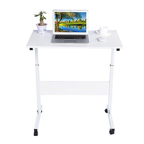 Höhenverstellbar Laptoptisch Computertisch Beweglich Arbeitstisch Schreibtisch mit Rollen (Weiß)