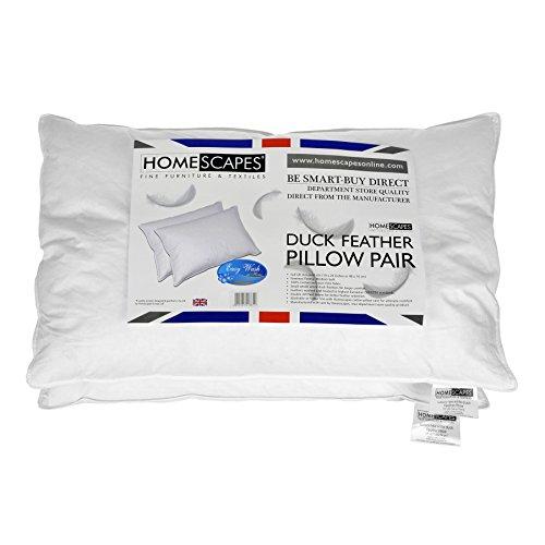 Homescapes - Almohadas de plumas de pato blanco (2 unidades, antiácaros, lavable,...