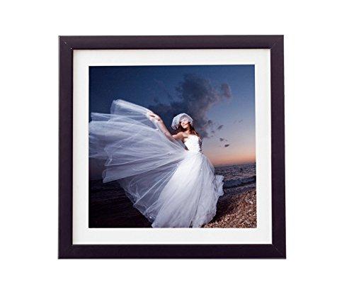 Holz - Rahmen für Bilder quadratisch 15x15 20x20 25x25 30x30 40x40 50x50 mit weißem Passepartout Rahmen zum Aufhängen Farbe Schwarz - Format 25x25