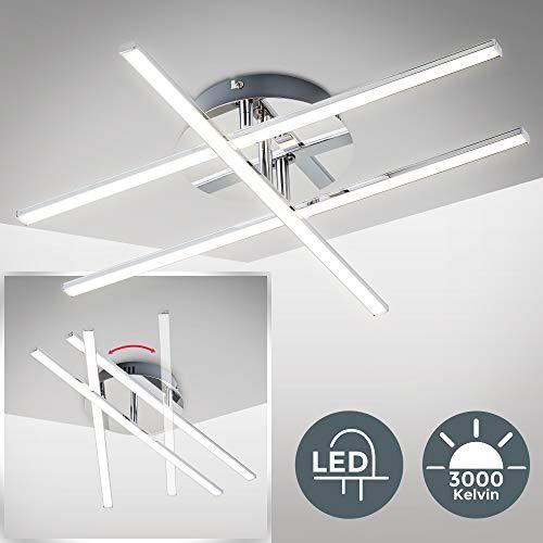 B.K. Licht plafonnier moderne LED, 3 barres LED orientables, module LED 12,5W intégré, 1150Lm, éclairage plafond moderne, blanc chaud 3000K, chrome, IP20