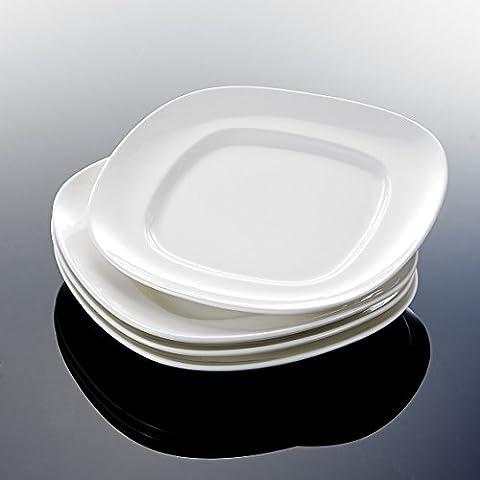 Malacasa Série Regular, 4pcs Assiettes à Dessert Assiette Creuse Plat Carré Céramique Porcelaine Service de Table Vaisselles