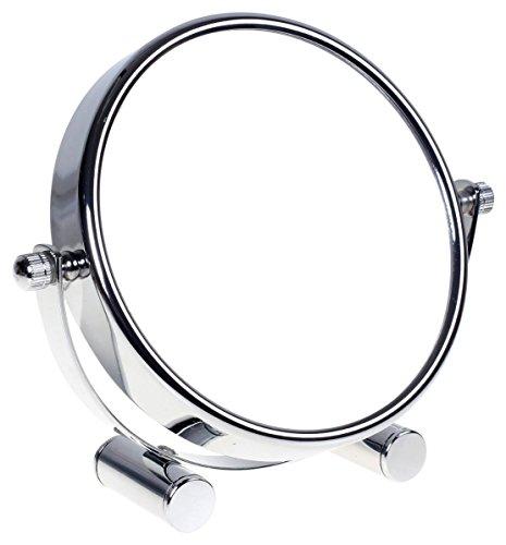 HIMRY Designed Kosmetik Spiegel/Kosmetikspiegel, 360° drehbar. zweiseitig: normal und 5 - Fach Vergrößerung. Standspiegel, Rasierspiegel, Badezimmerspiegel. verchromten, KXD3104-5x -