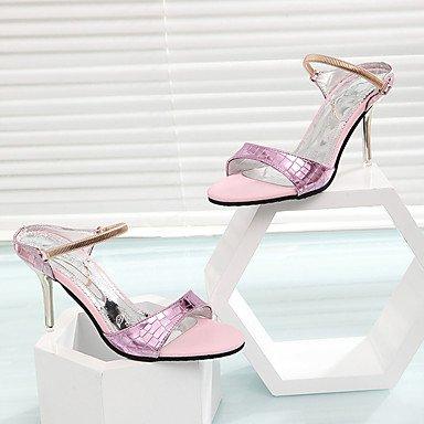 LFNLYX Donna tacchi Comfort estivo PU Casual Stiletto Heel fibbia Rosa Bianco Argento a piedi Silver