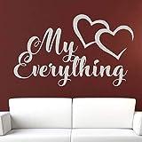 yaoxingfu My Everything Love Hearts Mensaje de Vinilo removible Pegatinas de Pared para Sala de Estar Dulce hogar Murales calcomanías Dormitorio Cartel Amarillo 142x85 cm