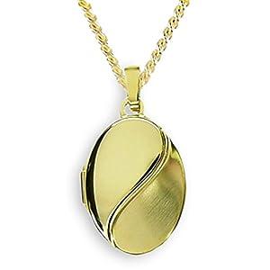 HausderHerzen.de Medaillon 333 Gold Oval Anhänger