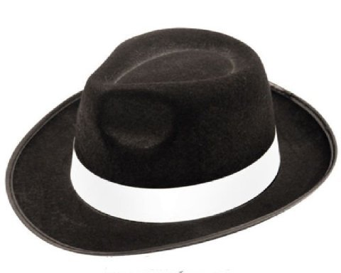 Adult black gangster hat felt trilby Fedora Al Capone fancy dress Italian mafia - Trilby-Style Velour Hat With White Ribbon Band ()