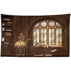 Abakuhaus Gótico Tapiz de Pared y Cubrecama Suave, Cuarto de Estudio en Biblioteca Medieval y Gato Durmiendo en la Ventana Antigua Mansión, Estampa Resistente, 230x140 cm, Taupe