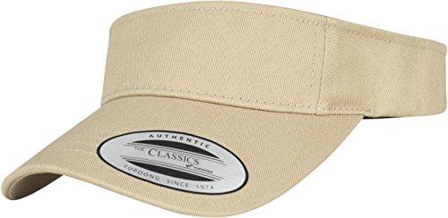 Flexfit Yupoong Damen und Herren Curved Visor Cap - Unisex Sonnenblende mit Klettverschluss - Farbe khaki one size