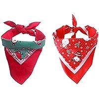 POPETPOP 2 Piezas Baberos de Navidad para Mascotas, Perrito Ajustable Triángulo Bufandas, Fiesta de Cumpleaños Suministros Bandana Accesorios para Perros y Gatos (Rojo y Verde)