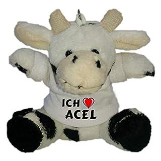 SHOPZEUS Plüsch Kuh Schlüsselhalter mit T-Shirt mit Aufschrift Ich Liebe Acel (Vorname/Zuname/Spitzname)