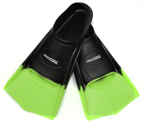 Aqua Speed® HIGH TECH Kurze Trainingsflossen | Schwimmflossen | Schwimmtraining | Kurzflossen | Taucherflossen | Größen 33-48, Größen:33/34, Modell:schwarz/neon-grün/38