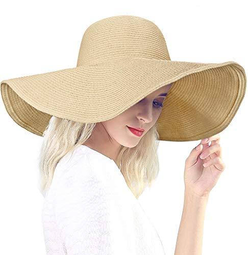 Dafunna Sombrero de Paja para Mujer de ala Ancha Pamelas Playa Plegable. 3e29d6fbc84