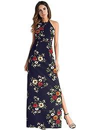 c9661bc0b310 Dxlta vestito per donna – Halter floreale stampato senza maniche schiena  scoperta Split Beach Maxi Dress