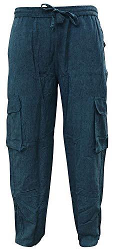 shopoholic fashion tinta unita, da uomo canapa hippie pantaloni stile militare - turchese, xxl