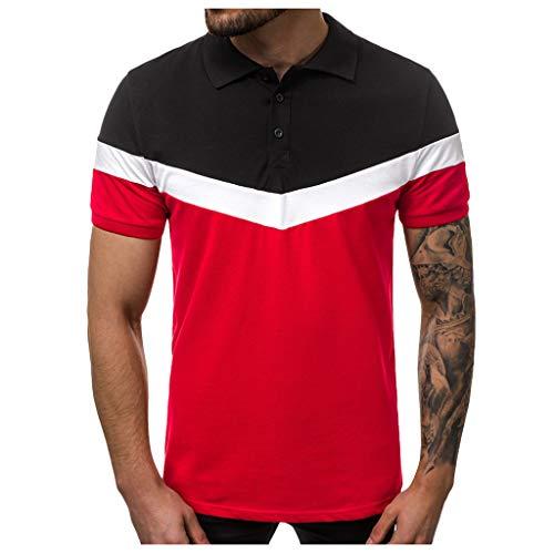 Makefortune  Casual Men's Short Sleeve Polo Shirts Contrasting Colors Golf Tennis T-Shirt Button Down Shirts Slim Fit M-XXXL