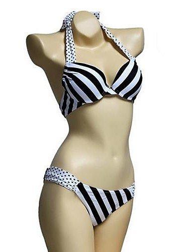 ZQ Donna Halter Bikini, Dot/Spandex geometrico multicolore, screen color-l, M