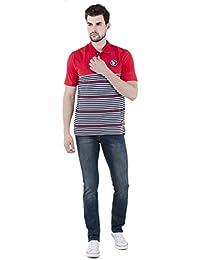 Lyos Men's Stylish Slim Fit Cotton Jeans, Dark Blue Color Faded Denims. - B075JJY5YP