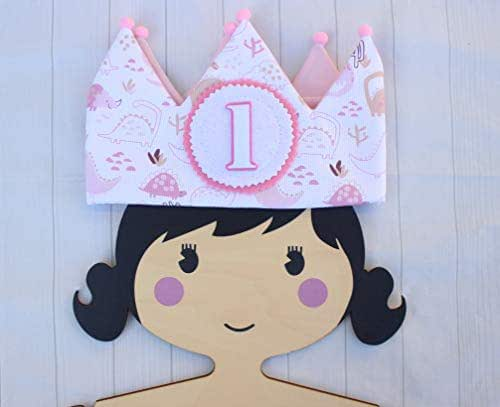 Pittitus Cappellini da festa corona di compleanno in tessuto per neonati e bambini