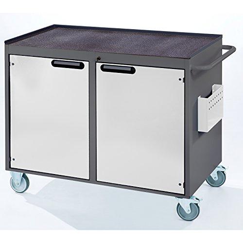 RAU Werkbank, fahrbar – 2 Türen, Metallablage mit Gummimatte, lichtgrau / enzianblau – Fahrbare Werkbänke Werkbänke, fahrbar Fahrbare Werkbänke Werkbänke, fahrbar - 2