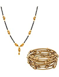 The Luxor Gold Plated Simple Mangalsutra & Bangles Set For Women