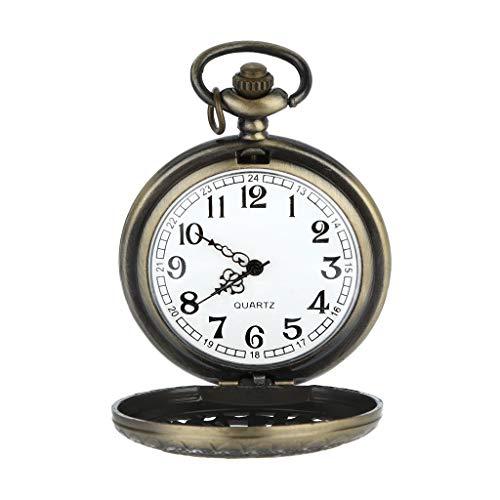 Knowin Uhren Mode Personalisierte Muster Steampunk Vintage Quarz römische Ziffern Taschenuhr mit Retro Muster Analoges Handbuch Zwölf Konstellationen Beförderung Case Bronze