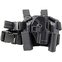 haoYK Réglable Tactique Airsoft Pistolet Goutte Leg Holster Sac Cuisse Droite Holster avec Magazine Torch Pouch pour H & K USP Compact (Noir)