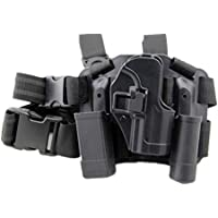 haoYK Ajustable táctico Airsoft Pistola Drop Leg Holster Bag Muslo Right Leg Holster con compartimiento Torch Pouch para H & K USP Compact (Negro)