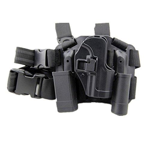 haoYK Einstellbare Tactical Airsoft Pistol Drop Bein Holster Tasche Oberschenkel Rechts Bein Holster mit Magazin Taschenlampe Tasche für H & K USP Compact (Schwarz)