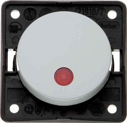 Hager INTEGRO Taster mit Pilot Objektiv Rot + Lampe Neon grau (Lampe Rot Pilot)