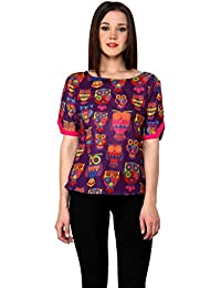 539f8e55443e8 Pannkh Women s Purple Cotton Owl N A Printed Top