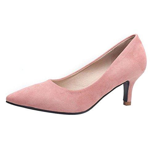 d5f44b2b1da35f Damen Pumps Wildleder - Elegant Bequeme Schuhe Kleiner Absatz Party  Abendschuhe Spitze Schuhe mit 4cm Absatz