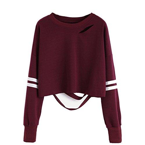 Kurz Pullover Damen Btruely Hohl Sweatshirt Langarm Sweater Tops (S, Weinrot) (Kurz Popeline Herren)